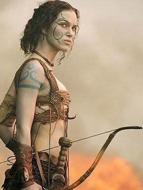 Keira Knightley, shivering her tits off in a woad bikini in the movie King Arthur.